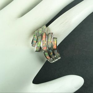 Opal  Gemstone Inlay  Sterling silver ring